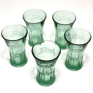 5 VINTAGE Coca-Cola Drinking Glasses